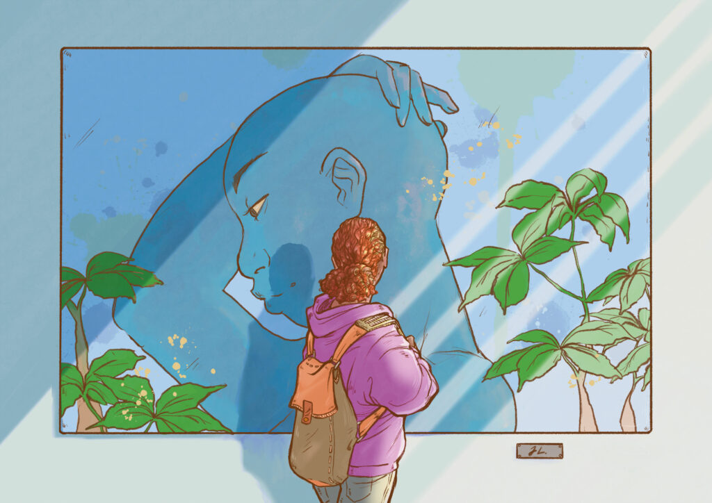 a Black person standing with their back to us. They are wearing a purple hoodie and blue pants, and a backpack. They are gazing at a large painting / artwork that features a person hugging their bare scalp with one arm, framed by green foliage