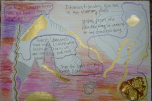 A collage work with gold and different shades of red. Handwritten text on top.