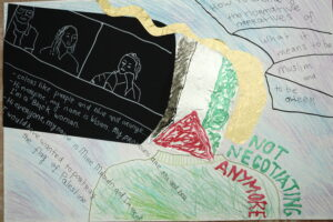 Collage work with gold, green, red, blue and black. Drawn figures on a zoom call, Palestinian flag and handwritten text.