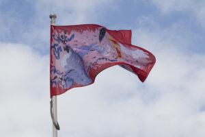 A flag artwork flying
